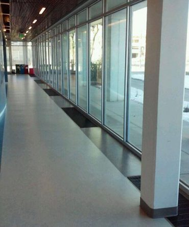 Indoor view of commercial glass window services