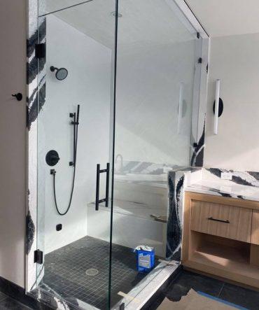 Tall glass shower door project