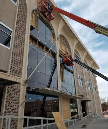 Outdoor Commercial Glass Installation Services Being Done by Glass Force Team